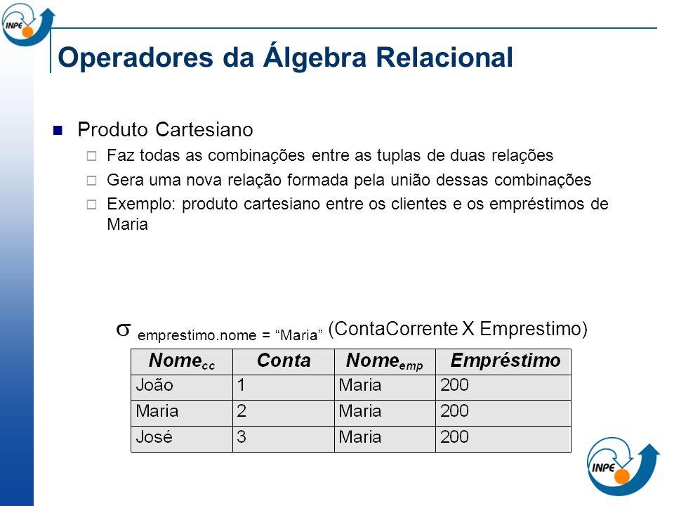 Operadores da Álgebra Relacional Produto Cartesiano Faz todas as combinações entre as tuplas de duas relações Gera uma nova relação formada pela união