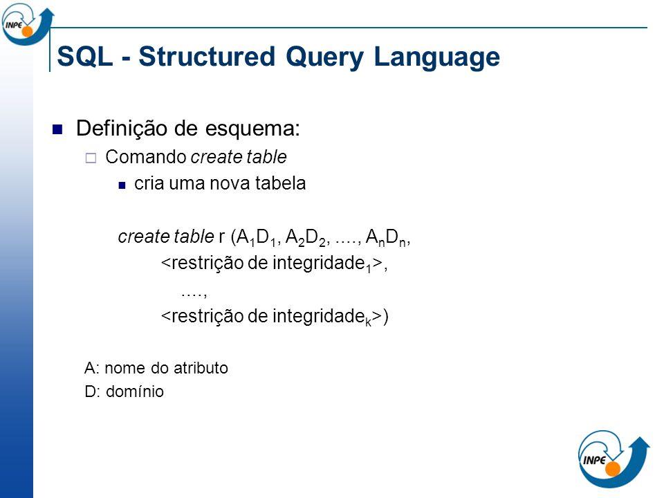 SQL - Structured Query Language Definição de esquema: Comando create table cria uma nova tabela create table r (A 1 D 1, A 2 D 2,...., A n D n,,....,