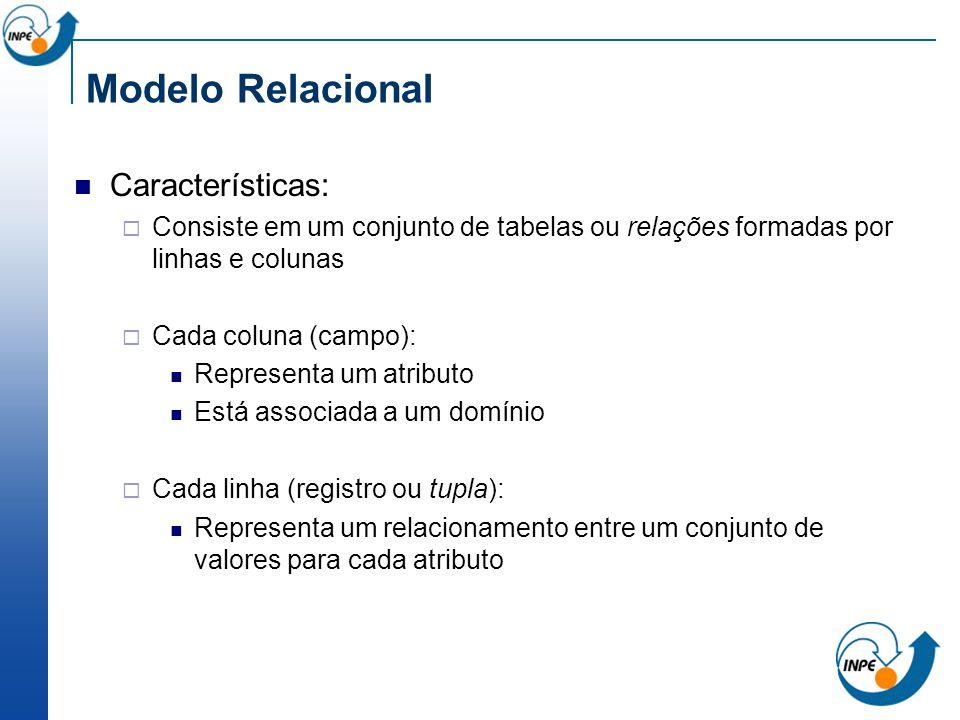 Modelo Relacional Características: Consiste em um conjunto de tabelas ou relações formadas por linhas e colunas Cada coluna (campo): Representa um atr
