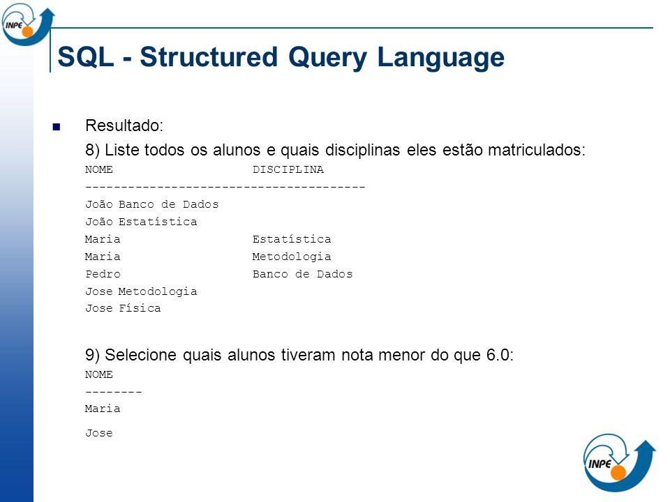 SQL - Structured Query Language Resultado: 8) Liste todos os alunos e quais disciplinas eles estão matriculados: NOME DISCIPLINA ---------------------