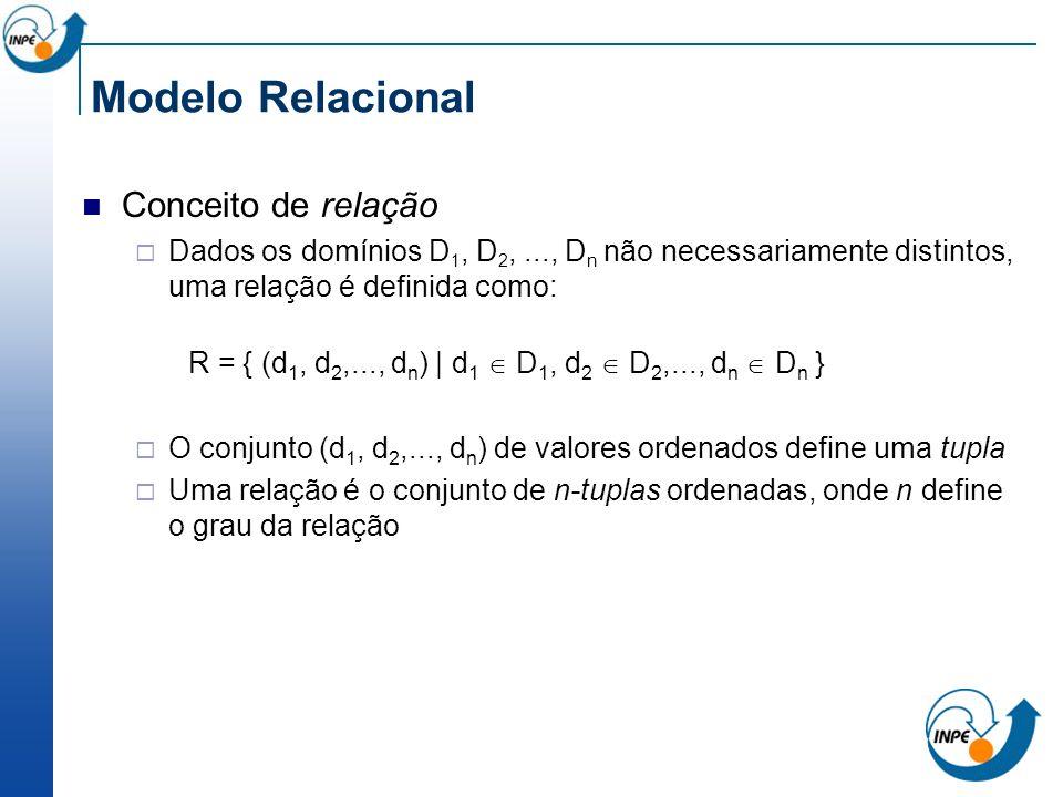Modelo Relacional Conceito de relação Dados os domínios D 1, D 2,..., D n não necessariamente distintos, uma relação é definida como: R = { (d 1, d 2,
