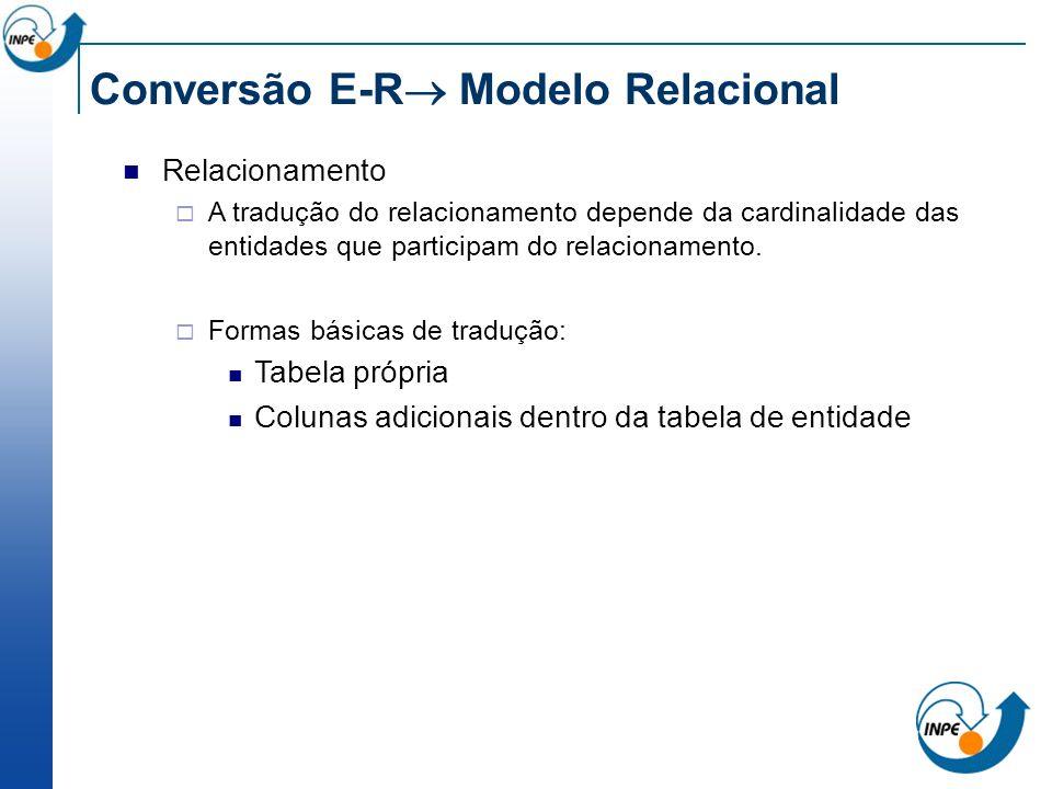 Conversão E-R Modelo Relacional Relacionamento A tradução do relacionamento depende da cardinalidade das entidades que participam do relacionamento. F