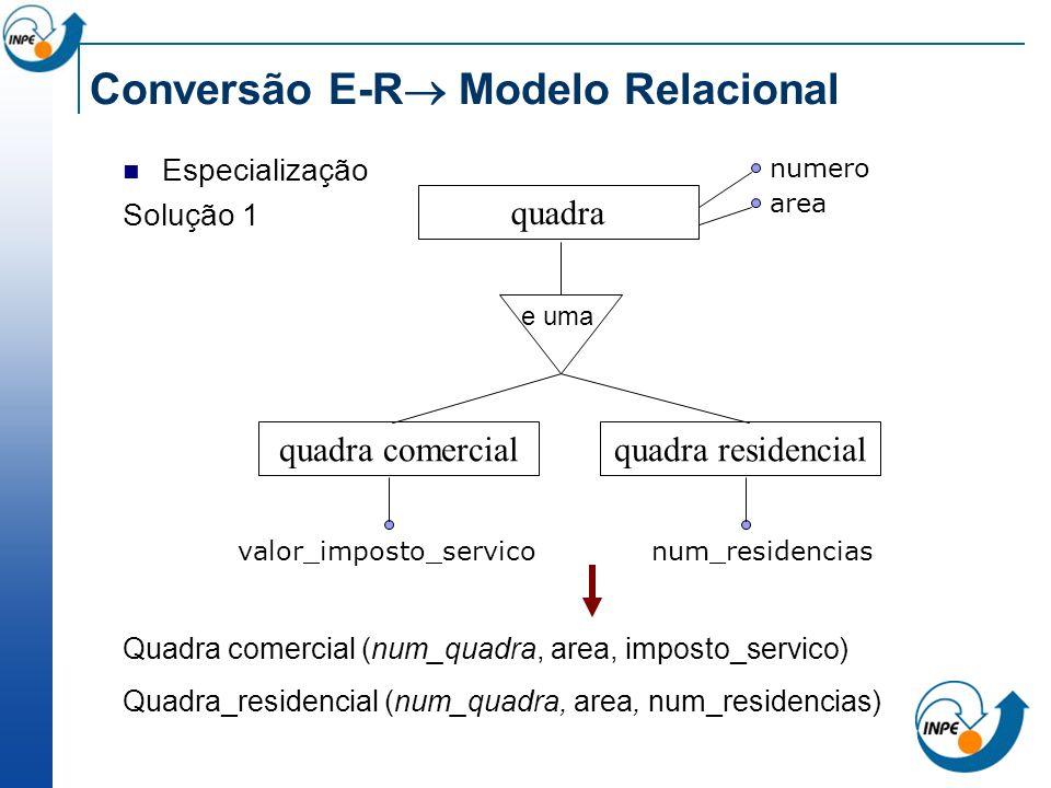 Conversão E-R Modelo Relacional Especialização Solução 1 Quadra comercial (num_quadra, area, imposto_servico) Quadra_residencial (num_quadra, area, nu