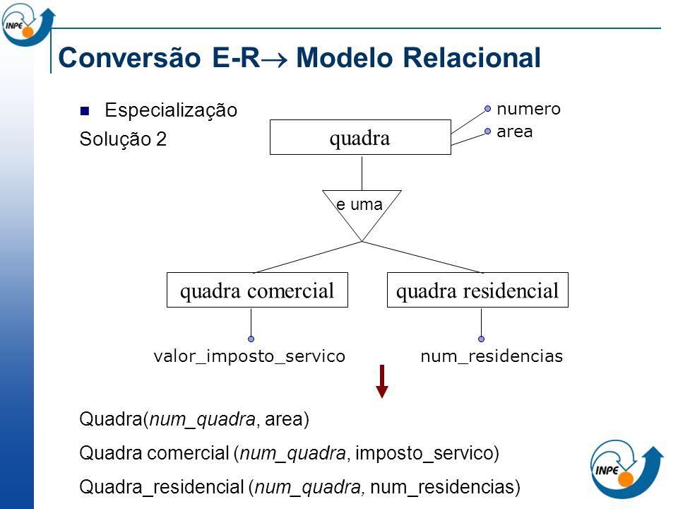Conversão E-R Modelo Relacional Especialização Solução 2 Quadra(num_quadra, area) Quadra comercial (num_quadra, imposto_servico) Quadra_residencial (n