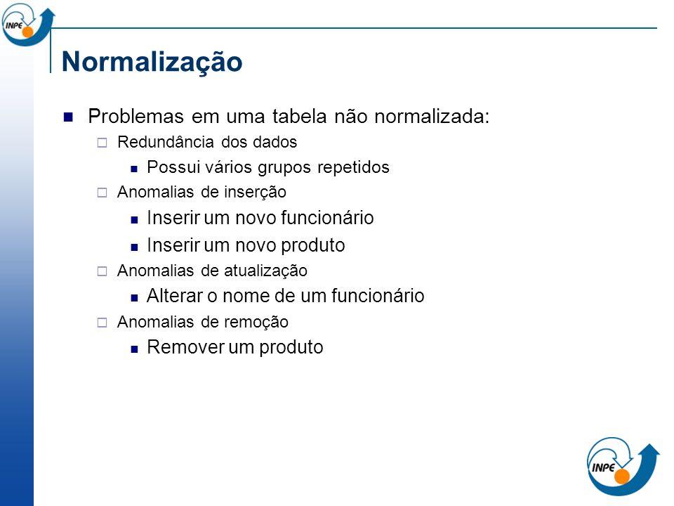 Problemas em uma tabela não normalizada: Redundância dos dados Possui vários grupos repetidos Anomalias de inserção Inserir um novo funcionário Inseri