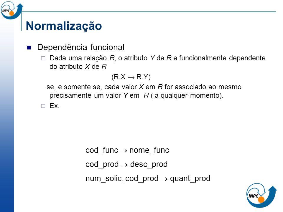 Dependência funcional Dada uma relação R, o atributo Y de R e funcionalmente dependente do atributo X de R (R.X R.Y) se, e somente se, cada valor X em