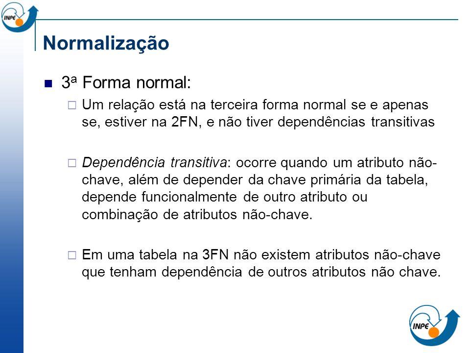 3 a Forma normal: Um relação está na terceira forma normal se e apenas se, estiver na 2FN, e não tiver dependências transitivas Dependência transitiva