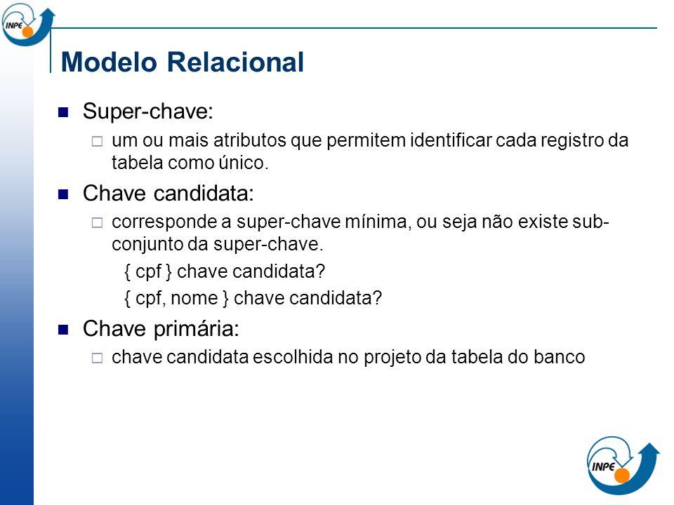 Modelo Relacional Super-chave: um ou mais atributos que permitem identificar cada registro da tabela como único. Chave candidata: corresponde a super-