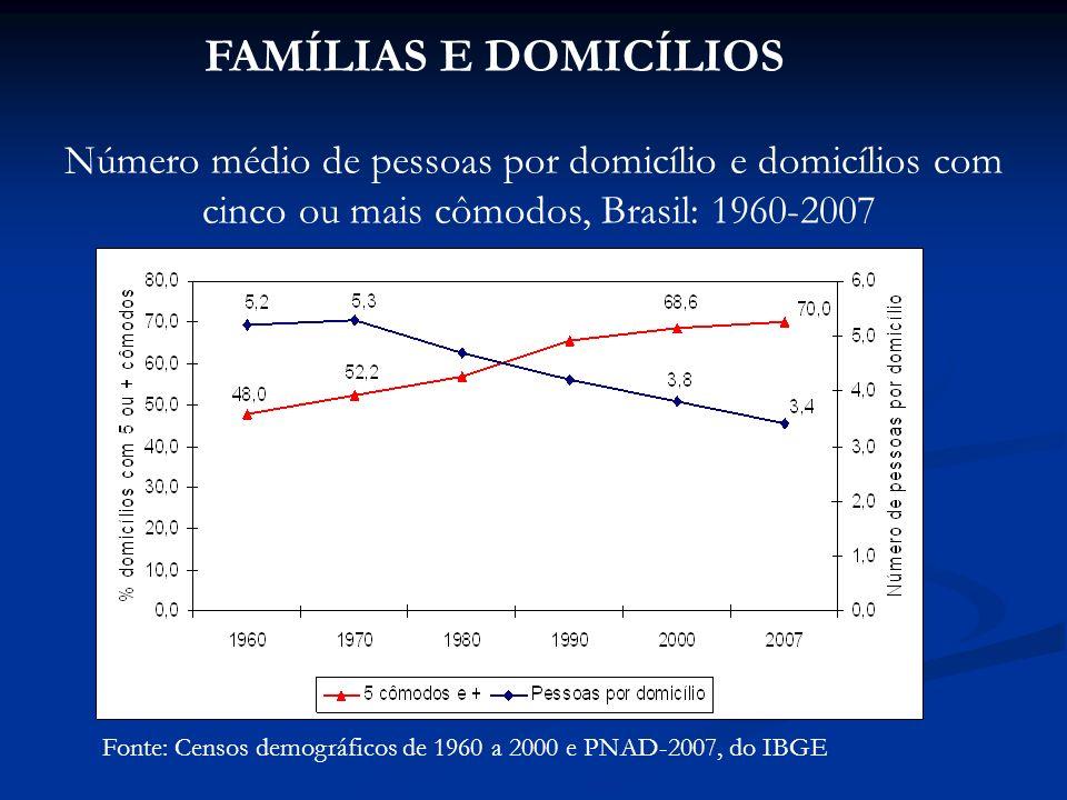 FAMÍLIAS E DOMICÍLIOS Fonte: Censos demográficos de 1960 a 2000 e PNAD-2007, do IBGE Número médio de pessoas por domicílio e domicílios com cinco ou mais cômodos, Brasil: 1960-2007