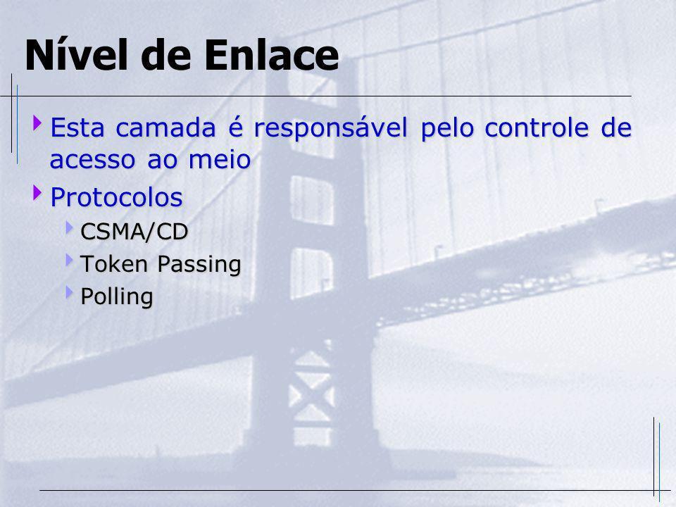 Nível de Enlace Esta camada é responsável pelo controle de acesso ao meio Esta camada é responsável pelo controle de acesso ao meio Protocolos Protoco