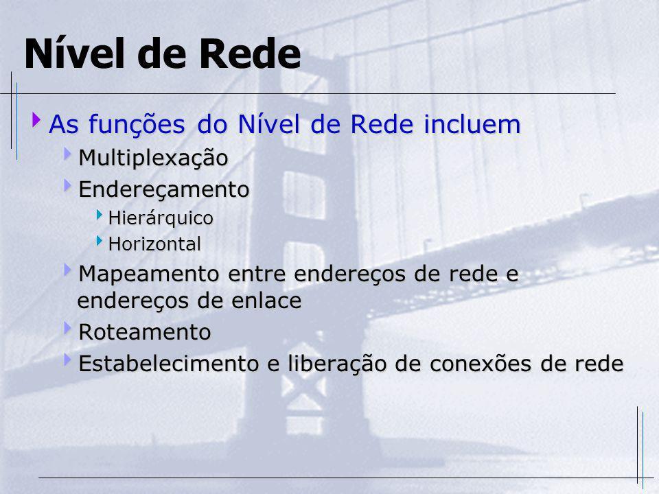 Nível de Rede As funções do Nível de Rede incluem As funções do Nível de Rede incluem Multiplexação Multiplexação Endereçamento Endereçamento Hierárqu