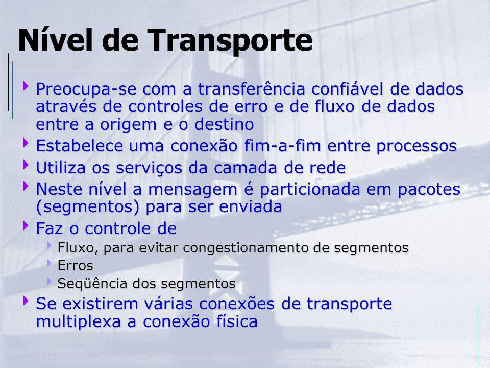 Nível de Transporte Preocupa-se com a transferência confiável de dados através de controles de erro e de fluxo de dados entre a origem e o destino Pre
