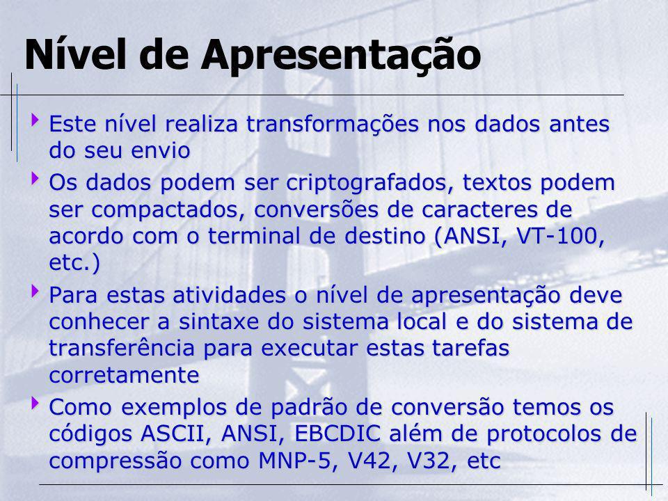 Nível de Apresentação Este nível realiza transformações nos dados antes do seu envio Este nível realiza transformações nos dados antes do seu envio Os