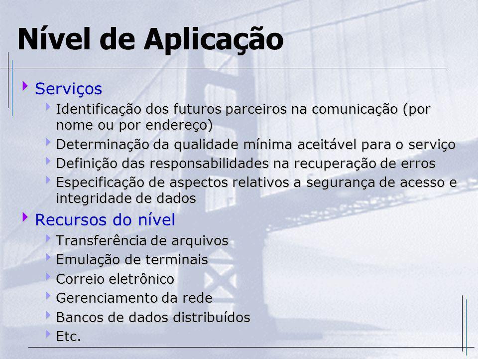 Nível de Aplicação Serviços Serviços Identificação dos futuros parceiros na comunicação (por nome ou por endereço) Identificação dos futuros parceiros
