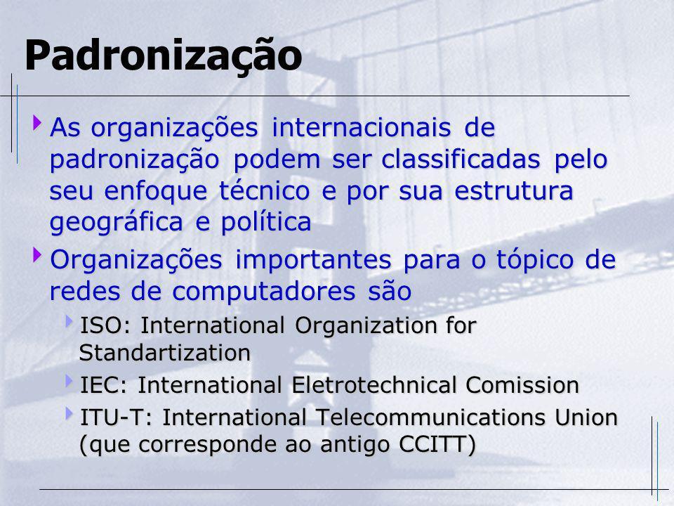 Padronização No Brasil a ABNT é o órgão responsável para submeter propostas de padronização à ISO No Brasil a ABNT é o órgão responsável para submeter propostas de padronização à ISO A ANSI executa o mesmo procedimento nos Estados Unidos e é um dos órgão mais atuantes A ANSI executa o mesmo procedimento nos Estados Unidos e é um dos órgão mais atuantes Na Europa a ETSI (European Telecommunications Standards Institute) fica responsável pelas MANs e RDSI naquele continente Na Europa a ETSI (European Telecommunications Standards Institute) fica responsável pelas MANs e RDSI naquele continente No Japão o TCC (Telecommunications Technology Committee) é o principal órgão de definição de recomendações sobre RDSI No Japão o TCC (Telecommunications Technology Committee) é o principal órgão de definição de recomendações sobre RDSI