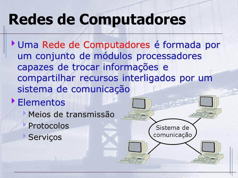 Uma Rede de Computadores é formada por um conjunto de módulos processadores capazes de trocar informações e compartilhar recursos interligados por um
