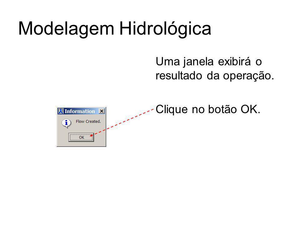 Modelagem Hidrológica Uma janela exibirá o resultado da operação. Clique no botão OK.