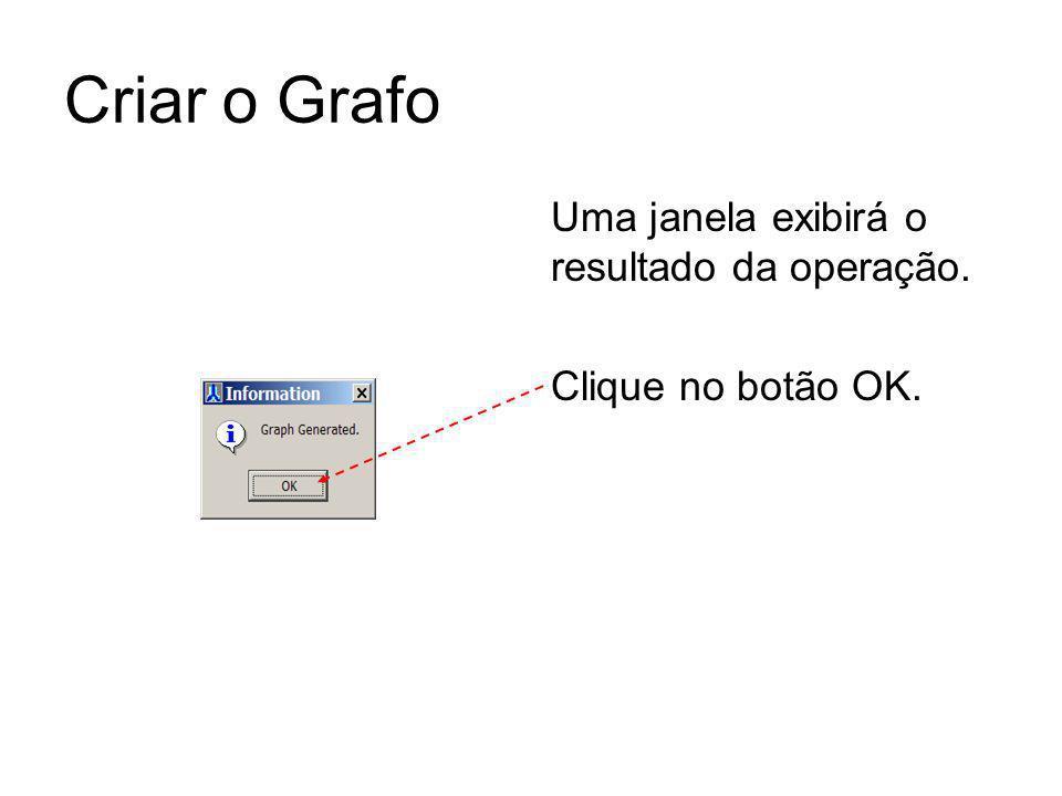 Criar o Grafo Uma janela exibirá o resultado da operação. Clique no botão OK.