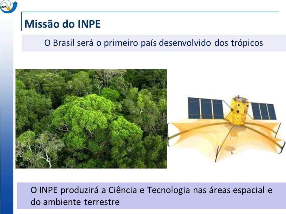 Missão do INPE O INPE produzirá a Ciência e Tecnologia nas áreas espacial e do ambiente terrestre O Brasil será uma potência ambiental no Século 21 O Brasil será o primeiro país desenvolvido dos trópicos