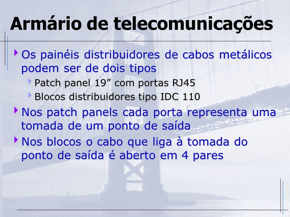 Armário de telecomunicações Os painéis distribuidores de cabos metálicos podem ser de dois tipos Os painéis distribuidores de cabos metálicos podem se