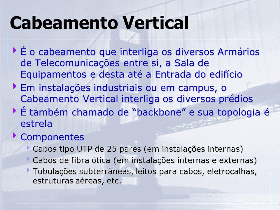 Cabeamento Vertical É o cabeamento que interliga os diversos Armários de Telecomunicações entre si, a Sala de Equipamentos e desta até a Entrada do ed