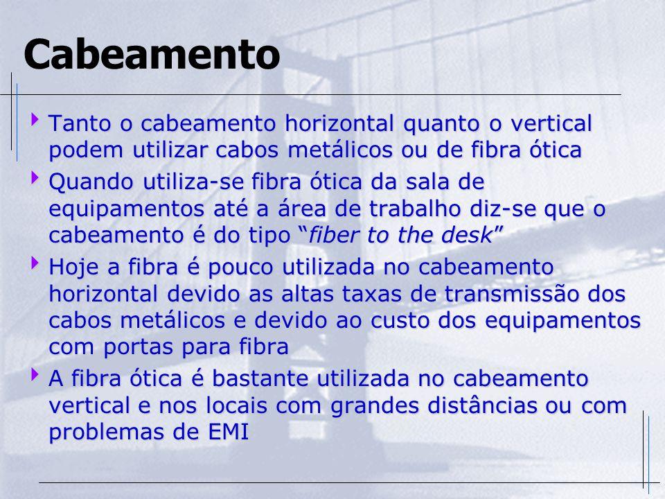 Cabeamento Tanto o cabeamento horizontal quanto o vertical podem utilizar cabos metálicos ou de fibra ótica Tanto o cabeamento horizontal quanto o ver