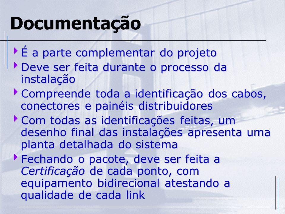 Documentação É a parte complementar do projeto É a parte complementar do projeto Deve ser feita durante o processo da instalação Deve ser feita durant