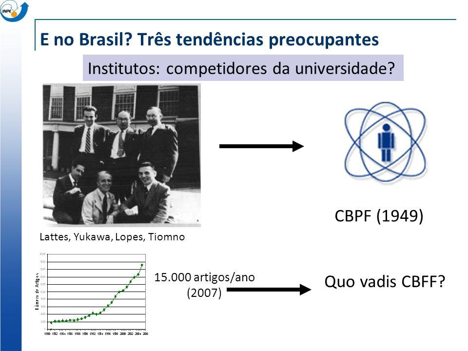 E no Brasil. Três tendências preocupantes Institutos: competidores da universidade.
