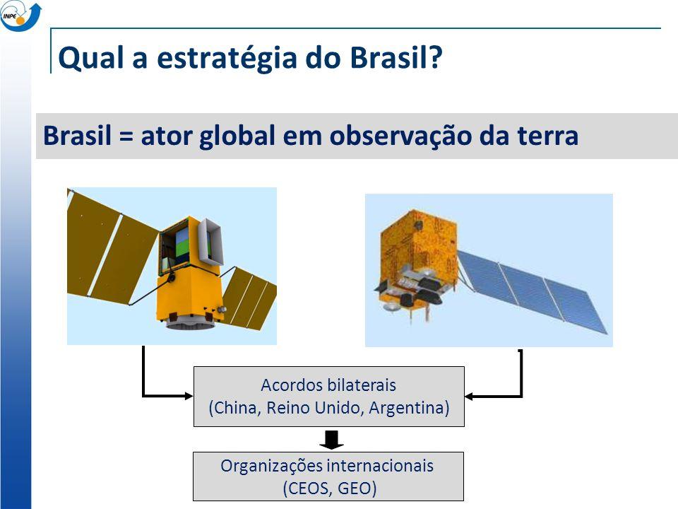 Qual a estratégia do Brasil? Brasil = ator global em observação da terra Organizações internacionais (CEOS, GEO) Acordos bilaterais (China, Reino Unid