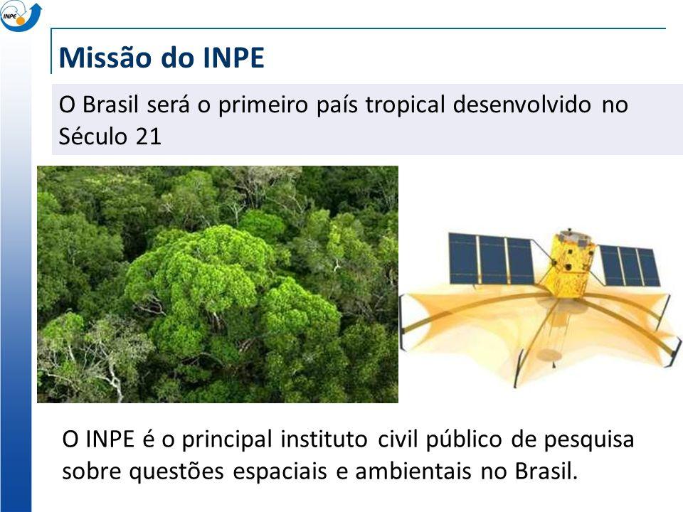 Missão do INPE O INPE é o principal instituto civil público de pesquisa sobre questões espaciais e ambientais no Brasil. O Brasil será o primeiro país