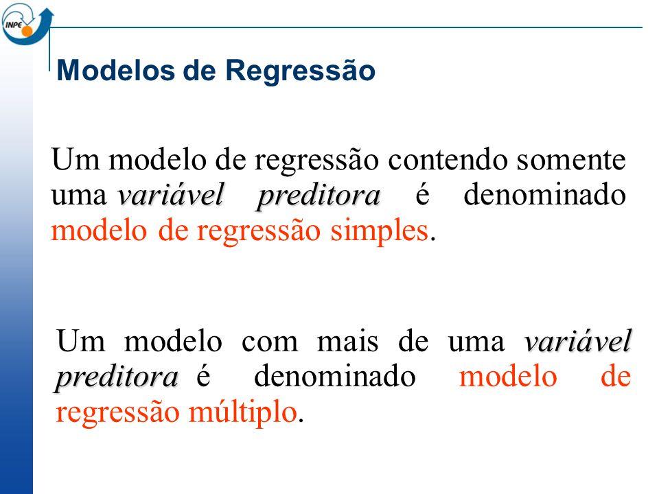 variável preditora Um modelo de regressão contendo somente uma variável preditora é denominado modelo de regressão simples. Modelos de Regressão variá