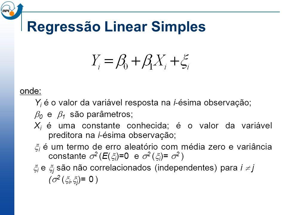 Regressão Linear Simples onde: Y i é o valor da variável resposta na i-ésima observação; 0 e 1 são parâmetros; X i é uma constante conhecida; é o valo
