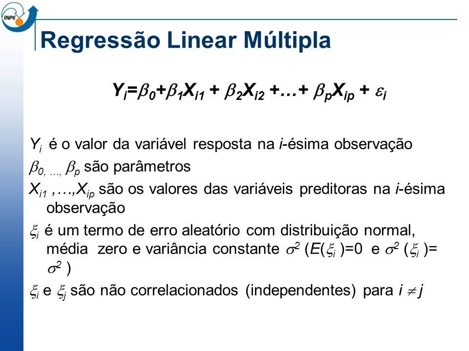 Regressão Linear Múltipla Y i = 0 + 1 X i1 + 2 X i2 +…+ p X ip + i Y i é o valor da variável resposta na i-ésima observação 0, …, p são parâmetros X i