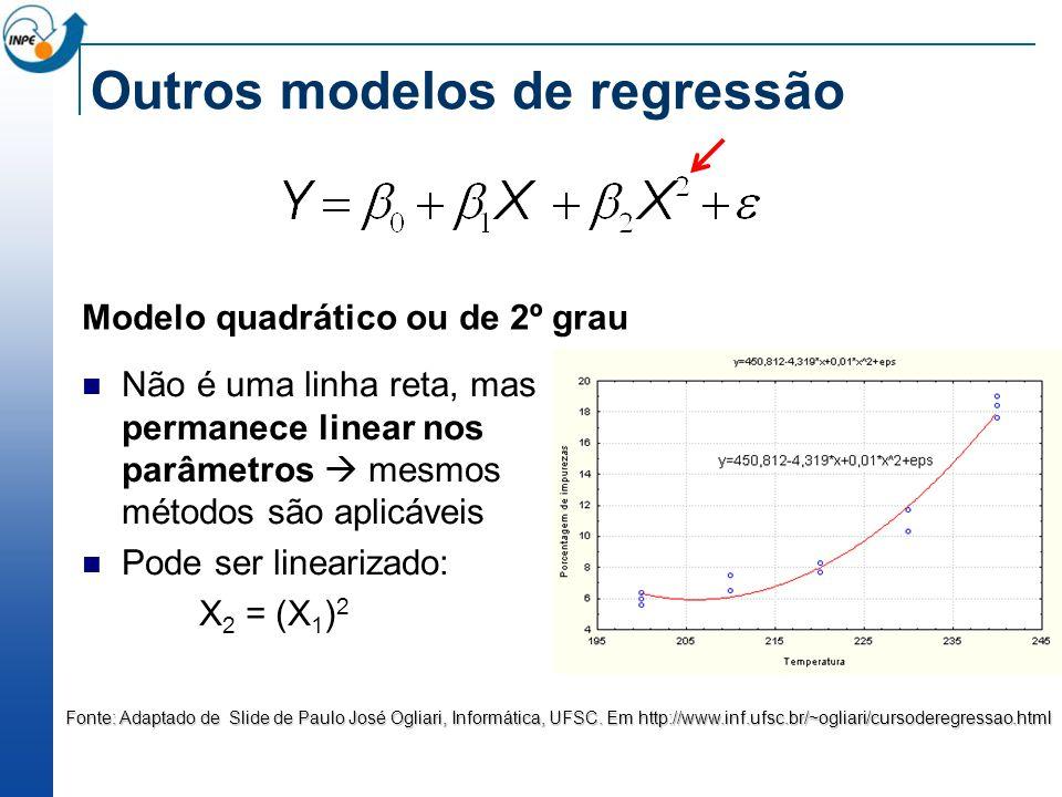 Outros modelos de regressão Modelo quadrático ou de 2º grau Não é uma linha reta, mas permanece linear nos parâmetros mesmos métodos são aplicáveis Po