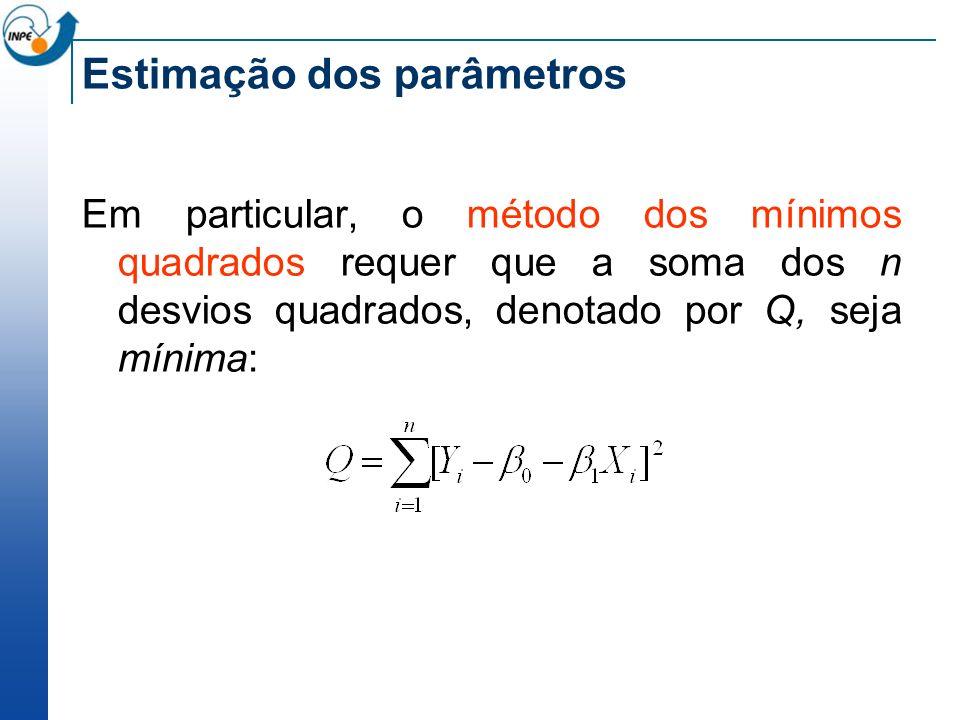 Estimação dos parâmetros Em particular, o método dos mínimos quadrados requer que a soma dos n desvios quadrados, denotado por Q, seja mínima:
