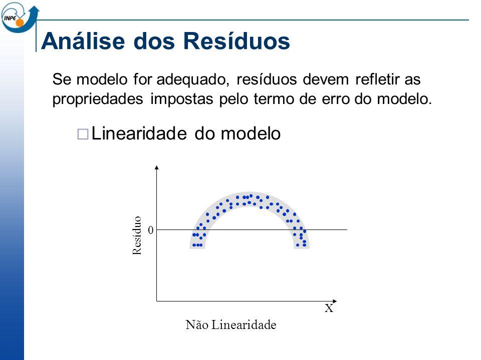 Análise dos Resíduos Se modelo for adequado, resíduos devem refletir as propriedades impostas pelo termo de erro do modelo. Linearidade do modelo Não