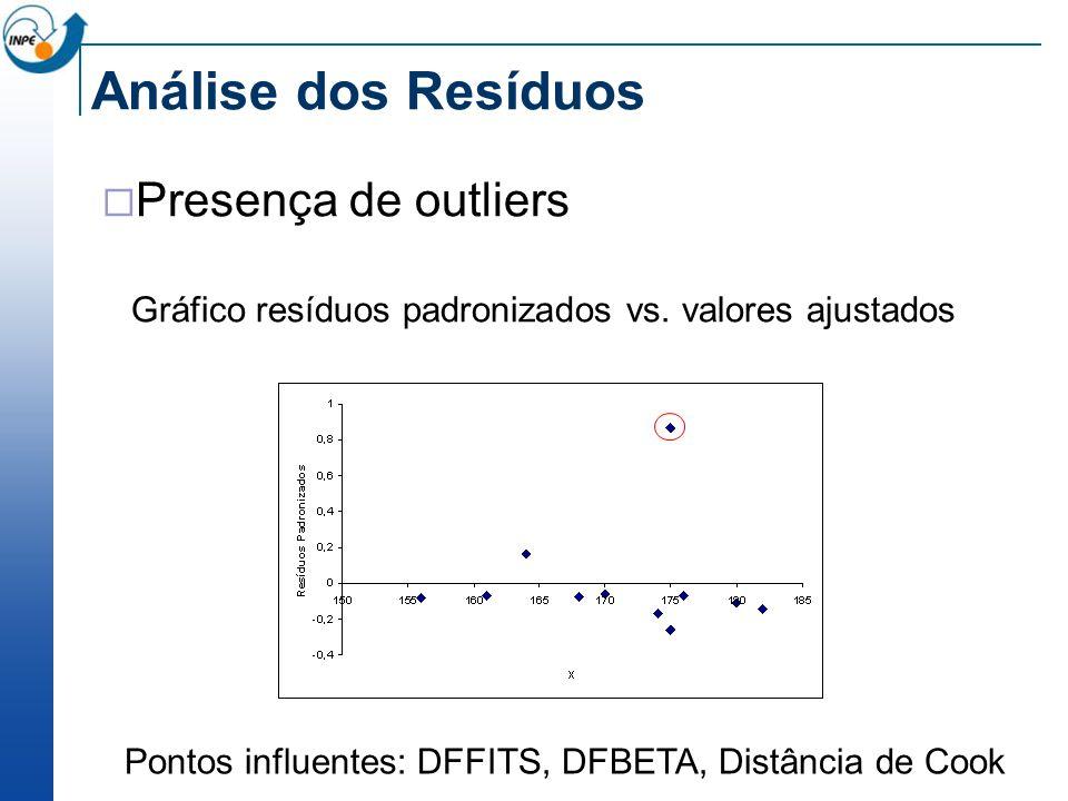 Análise dos Resíduos Presença de outliers Gráfico resíduos padronizados vs. valores ajustados Pontos influentes: DFFITS, DFBETA, Distância de Cook