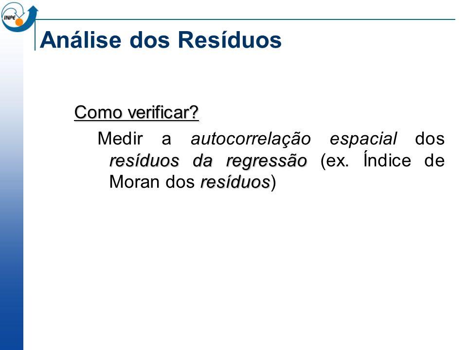Análise dos Resíduos Como verificar? resíduos da regressão resíduos Medir a autocorrelação espacial dos resíduos da regressão (ex. Índice de Moran dos