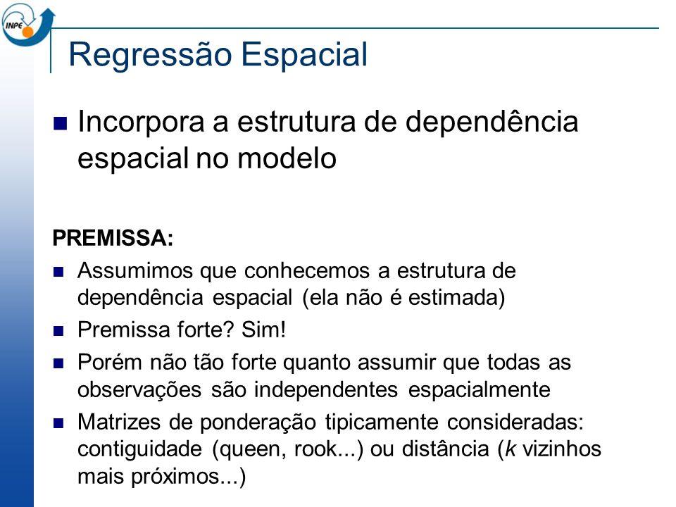 Regressão Espacial Incorpora a estrutura de dependência espacial no modelo PREMISSA: Assumimos que conhecemos a estrutura de dependência espacial (ela
