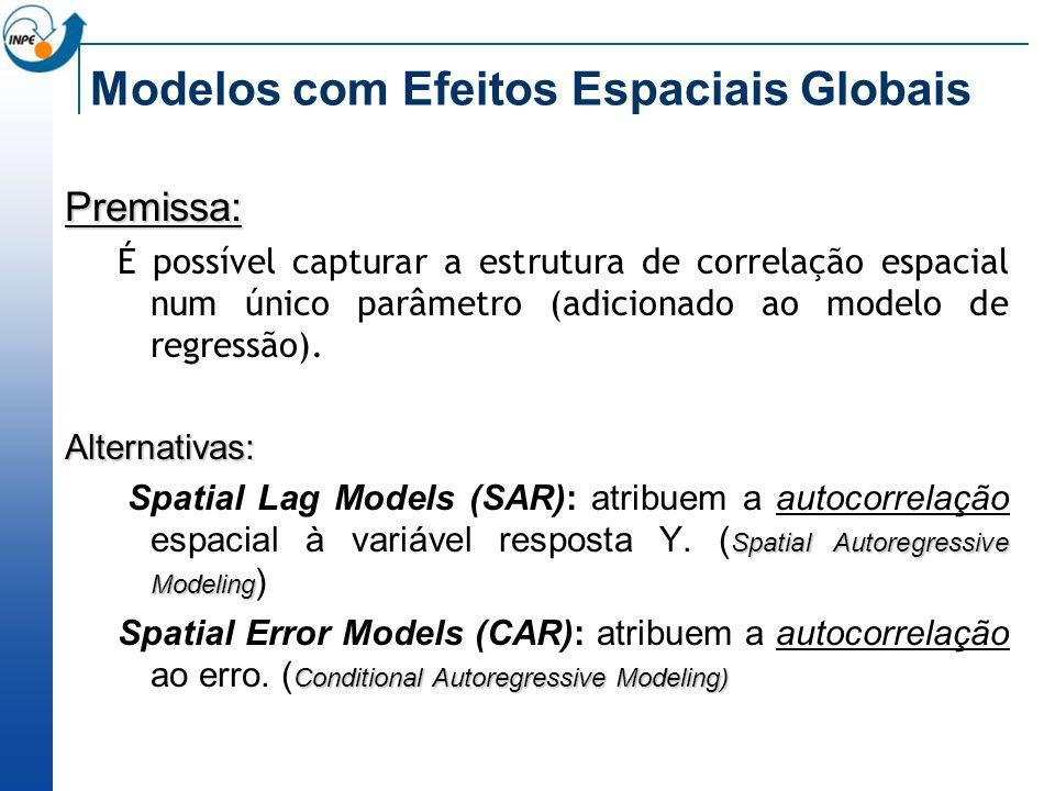 Modelos com Efeitos Espaciais Globais Premissa: É possível capturar a estrutura de correlação espacial num único parâmetro (adicionado ao modelo de re