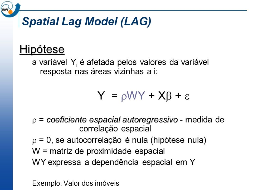 Spatial Lag Model (LAG) Hipótese a variável Y i é afetada pelos valores da variável resposta nas áreas vizinhas a i: Y = WY + X + coeficiente espacial