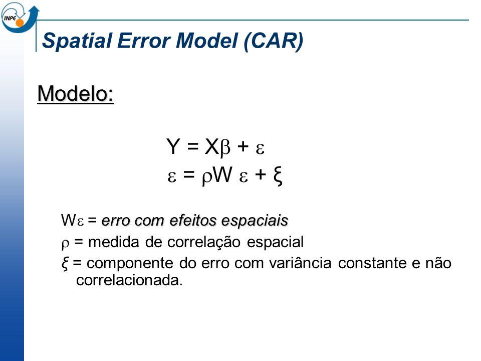 Spatial Error Model (CAR) Modelo: Y = X + = W + ξ erro com efeitos espaciais W = erro com efeitos espaciais = medida de correlação espacial ξ = compon