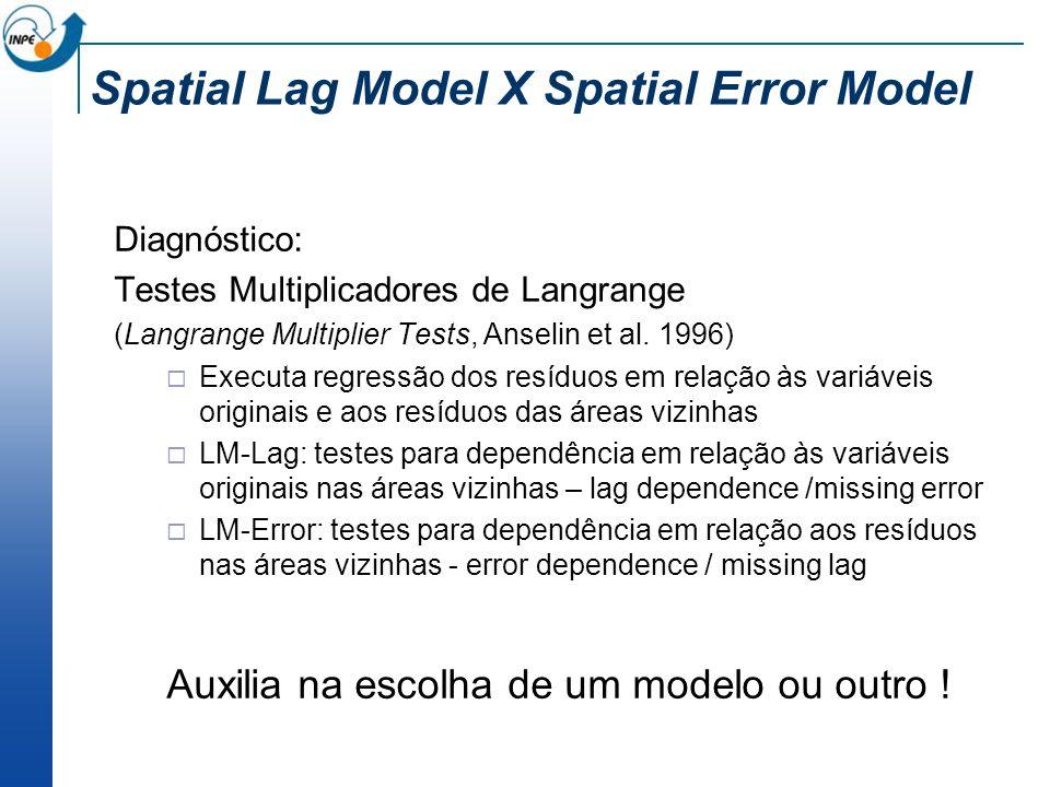 Spatial Lag Model X Spatial Error Model Diagnóstico: Testes Multiplicadores de Langrange (Langrange Multiplier Tests, Anselin et al. 1996) Executa reg