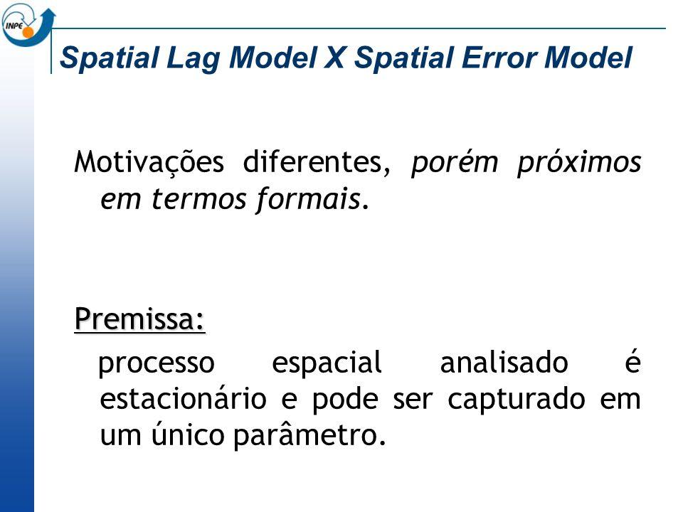 Spatial Lag Model X Spatial Error Model Motivações diferentes, porém próximos em termos formais. Premissa: processo espacial analisado é estacionário