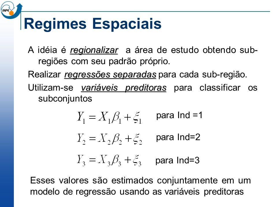 Regimes Espaciais regionalizar A idéia é regionalizar a área de estudo obtendo sub- regiões com seu padrão próprio. regressões separadas Realizar regr