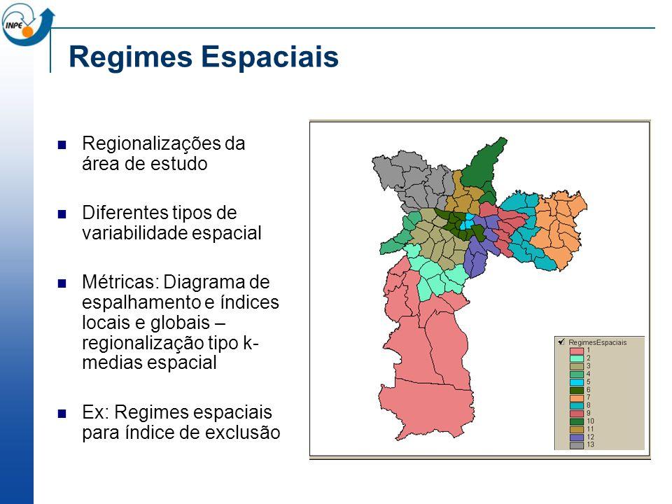 Regimes Espaciais Regionalizações da área de estudo Diferentes tipos de variabilidade espacial Métricas: Diagrama de espalhamento e índices locais e g