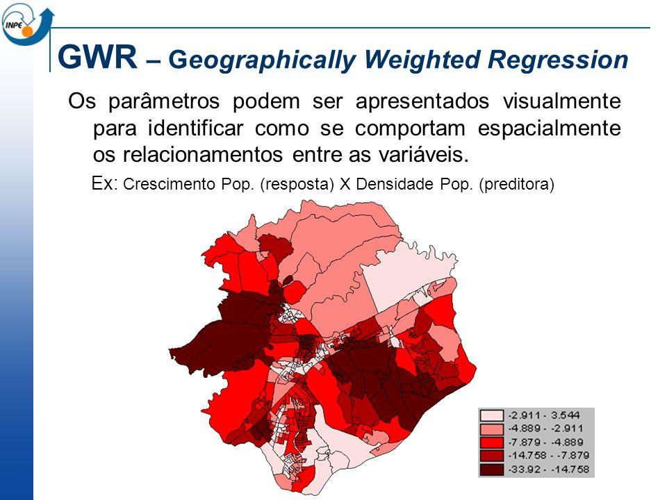 GWR – Geographically Weighted Regression Os parâmetros podem ser apresentados visualmente para identificar como se comportam espacialmente os relacion