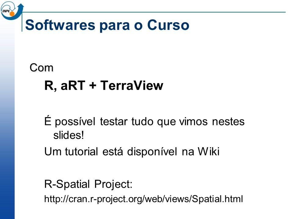 Softwares para o Curso Com R, aRT + TerraView É possível testar tudo que vimos nestes slides! Um tutorial está disponível na Wiki R-Spatial Project: h