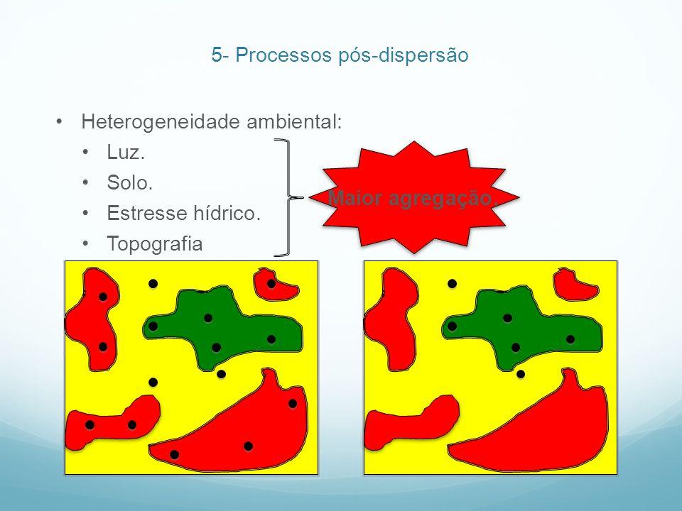 Heterogeneidade ambiental: Luz. Solo. Estresse hídrico. Topografia Maior agregação. 5- Processos pós-dispersão