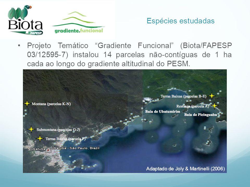 Projeto Temático Gradiente Funcional (Biota/FAPESP 03/12595-7) instalou 14 parcelas não-contíguas de 1 ha cada ao longo do gradiente altitudinal do PE